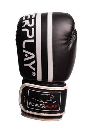 Боксерские перчатки Power Play 3010 Черно-белые PU 10