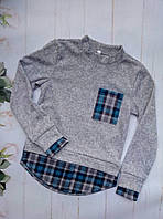 Рубашка-обманка на девочку, трикотаж ангора, размер 128-152, серый