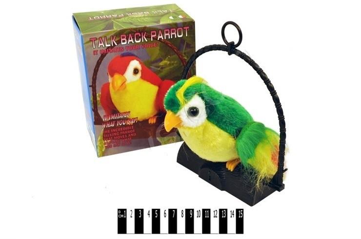 Говорящий Попугай повторюшка большой, мягкая игрушка, 1018
