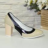 Женские туфли из натуральной лаковой кожи на высоком каблуке, цвет бежево-черные, фото 2