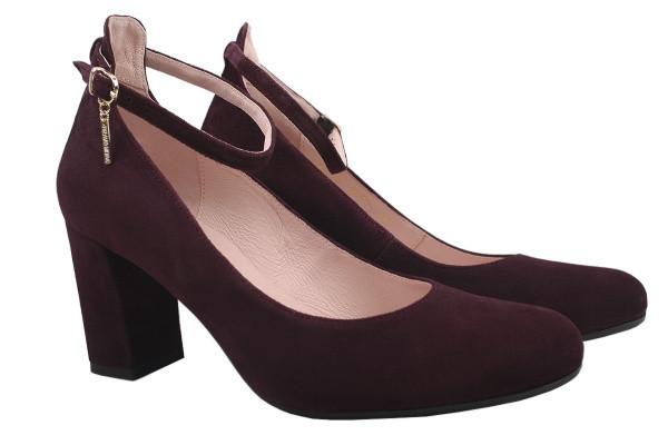 Туфли женские на каблуке из натуральной замши, бордовые Bravo Moda Польша