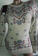Свитер со снежинками/ орнаментом женский (шерсть/ акрил), фото 1