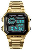 Мужские электронные наручные часы SKMEI (Скмей), золотой корпус с черным циферблатом
