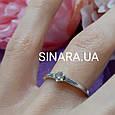 Золотое кольцо с бриллиантом на помолвку 17р. - Кольцо белое золото с бриллиантом 17р., фото 5