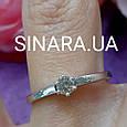 Золотое кольцо с бриллиантом на помолвку 17р. - Кольцо белое золото с бриллиантом 17р., фото 2