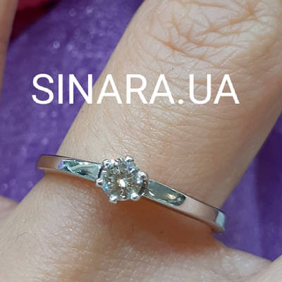 Золоте кільце з діамантом на заручини 17р. - Біле золото кільце з діамантом 17р.