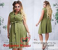 Летнее котоновое платье цвета хаки от ТМ Производитель Одесса батал  официальный сайт р. 48- e3c46019344
