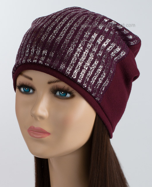 Удлиненная шапка колпак Рубчик серебро цвет слива