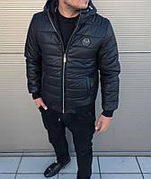 Мужская тёплая куртка Philipp Plein с капюшоном | бирка  , фото 1