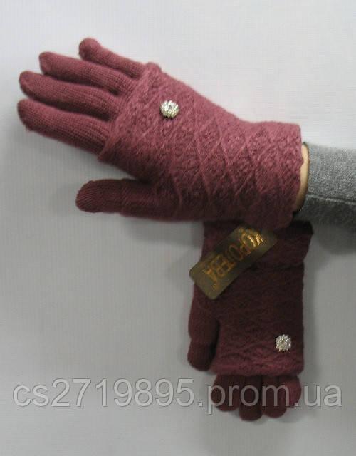Перчатки женские КОРОЛЕВА шерсть отворот декор