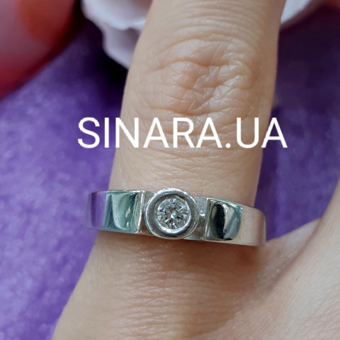 Кільце з білого золота з одним діамантом 17.5 р - Діамантове кільце для заручин 17.5 р