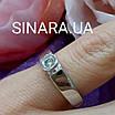 Кільце з білого золота з одним діамантом 17.5 р - Діамантове кільце для заручин 17.5 р, фото 3