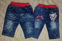 Летние тонкие джинсовые бриджи для девочки с кошкой. идеально для жаркой погода