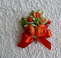 Оригинальные бутоньерки для жениха и невесты код 27 красные