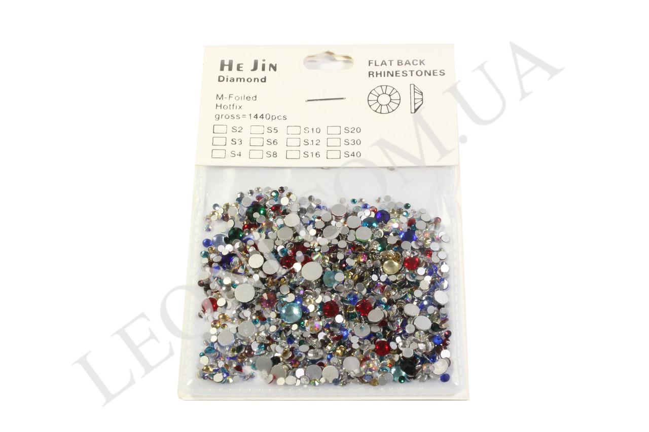 Стразы цветные разноразмерные кристалл для дизайна ногтей