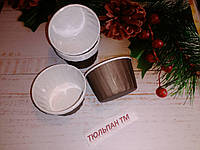 Форма пергаментная бумажная с бортиком для выпечки кексов коричневая дно 4,5 см формочка для выпечки