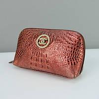 Кожаная косметичка ch-912-9122 женская кошелек-клатч на молнии