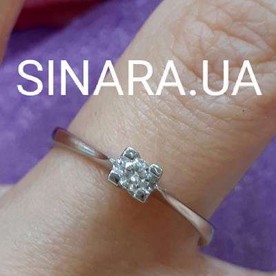 Кільце з білого золота з діамантами 17.5 р