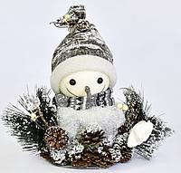 Новогодний декор фигурка под елку Снеговик с шишками 30 см