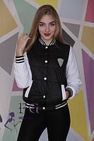 Женская модная куртка - бомбер черная.