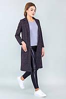 Коричневый женский прямой кардиган-пальто с карманами