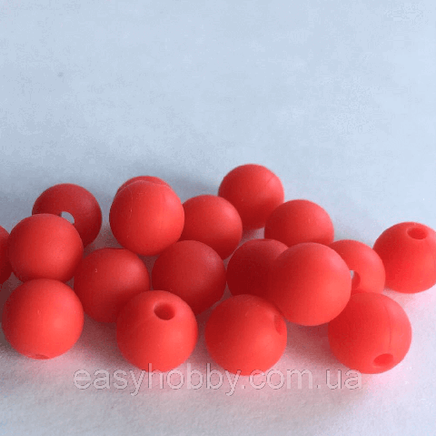 9мм (красный) круглая, силиконовая бусина