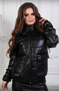 """Стильная демисезонная женская куртка без капюшона с карманами """"Passion"""" черная 42 44"""