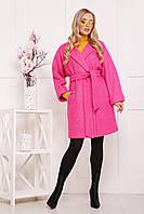 Модное женское демисезонное пальто шерстяное на две пуговицы с пояском П-300-90 розовое (1210)