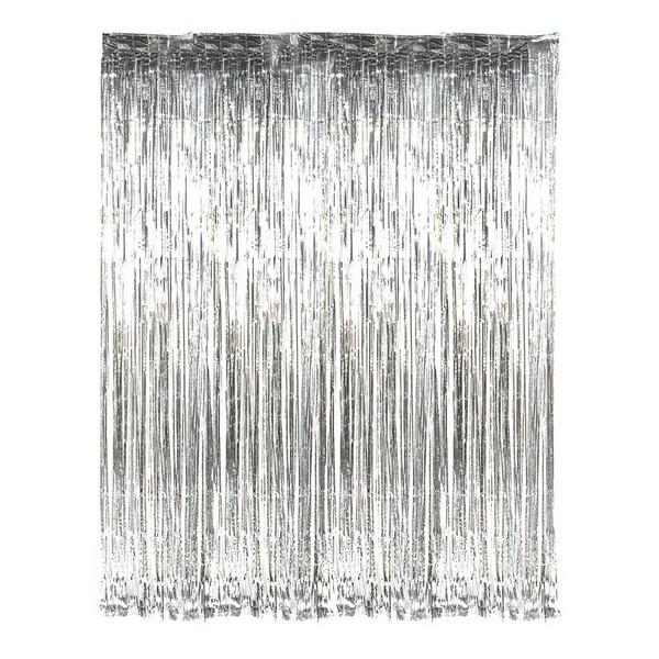 Шторка занавес из фольги для фото зон серебряная 1х2 метра