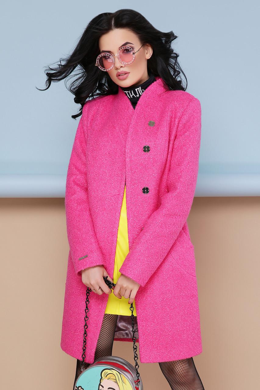 Яркое демисезонное женское пальто с поясом П-308 цвет 1210-малина