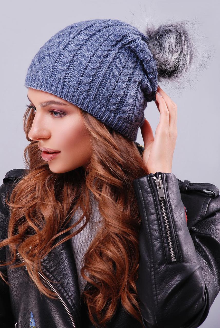 Женская шапка бини двойная вязка в косички цвет светлый джинс