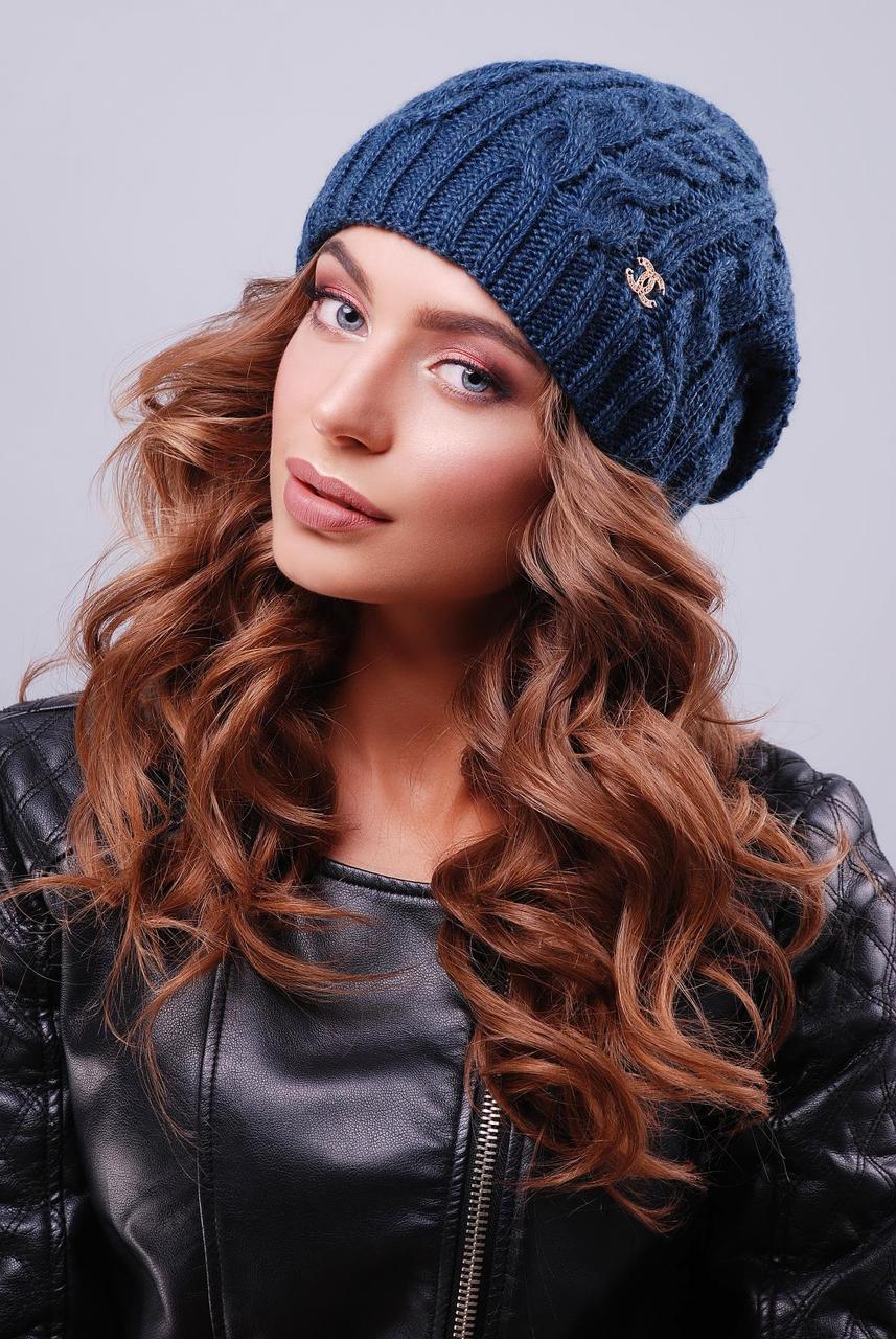 Женская теплая шапка бини в косичку двойная вязка, цвет джинс