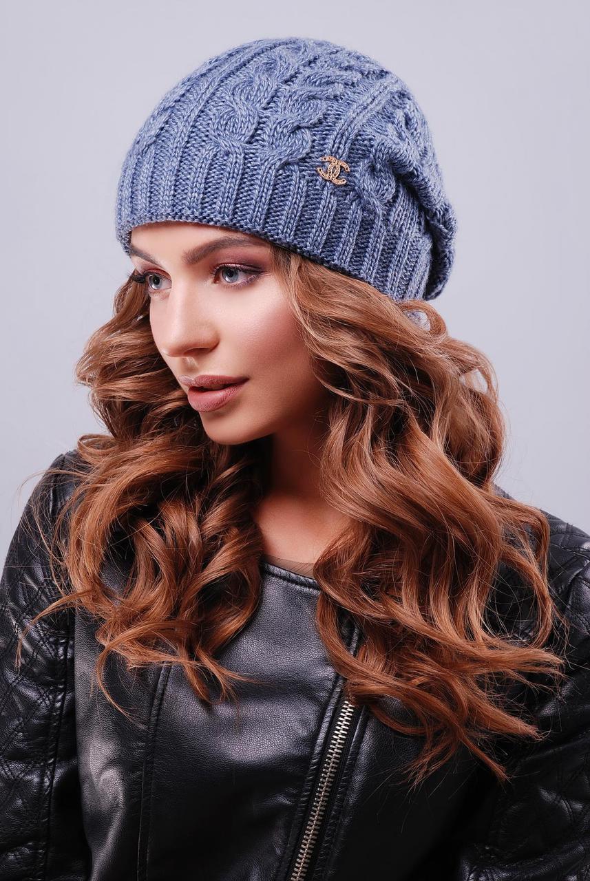Теплая женская вязаная шапка бини в косички цвет светлый джинс