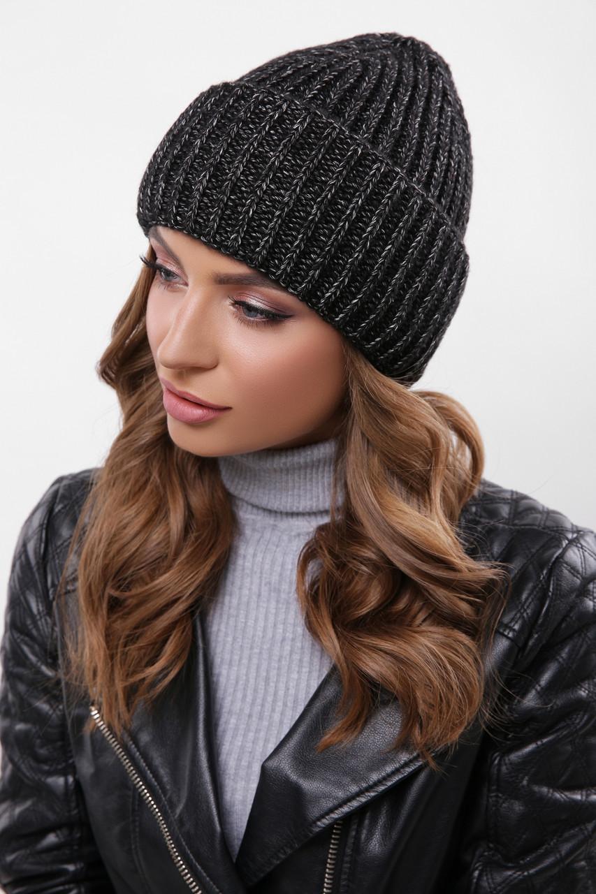 Модная женская зимняя вязаная шапка с двойным подворотом цвет черный меланж