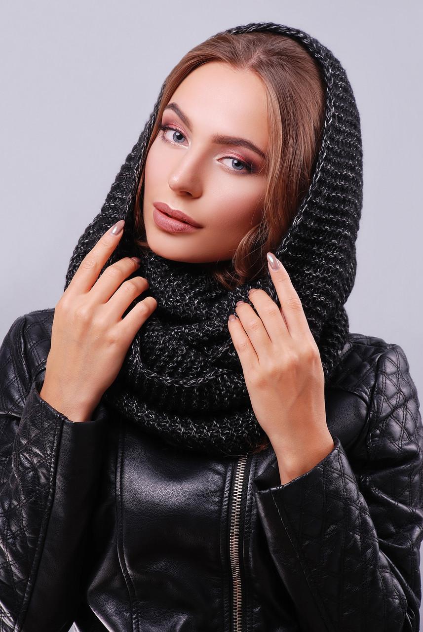 Женский стильный теплый вязаный шарф-снуд цвет черный меланж