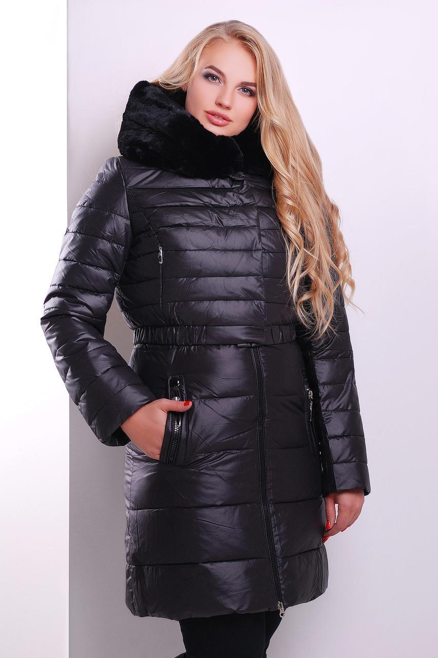 Теплая длинная зимняя женская куртка-жилет с капюшоном Куртка 13 черная