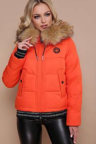 Молодежная женская зимняя короткая куртка в спортивном стиле Куртка 18-132 оранжевая