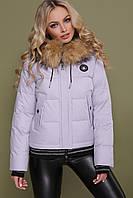 Женская теплая короткая курточка с мехом на капюшоне Куртка 18-132 фиолетовая