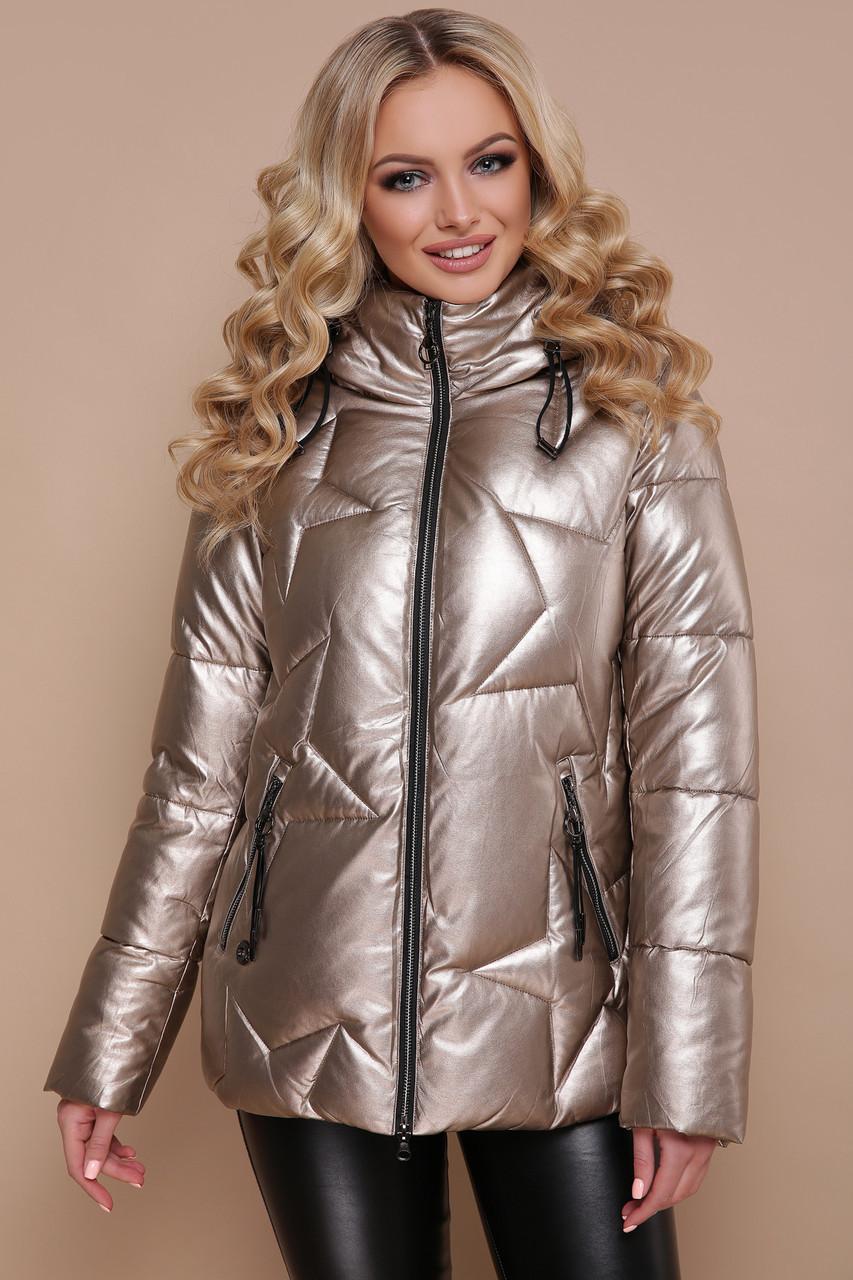 Зимняя женская короткая куртка на змейке с капюшоном экокожа Куртка 18-146 золото