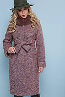 Теплое женское зимнее пальто ниже колен с мехом на воротнике П-302-100 зм цвет 1208-розовый