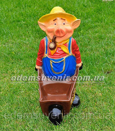 Садовая фигура цветочник Свинья с тачкой, фото 2