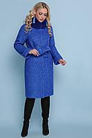 Женское зимнее классическое пальто без капюшона с мехом П-302-100 зм цвет 1226-электрик