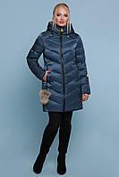 Женская теплая куртка-пуховик выше колен на молнии Куртка 18-71 цвет волна