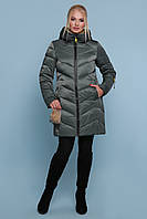 Женский молодежный короткий пуховик на молнии с капюшоном Куртка 18-71 хаки