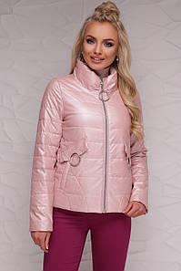 Женская короткая куртка демисезонная без капюшона на молнии пудра металлик 18-126