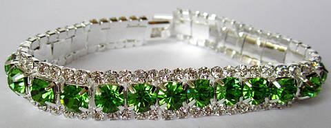 Браслет со стразами,камни Swarovski капелька в зеленом