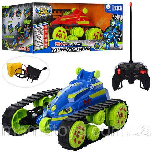 Машина JT317 р/у, аккумулятор, трюковая, 21, 5 см, повоот.на 360 град, гусеничные колеса, свет, 2 цвета,