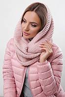 Модный женский вязаный шарф-снуд в два оборота цвет пудра меланж