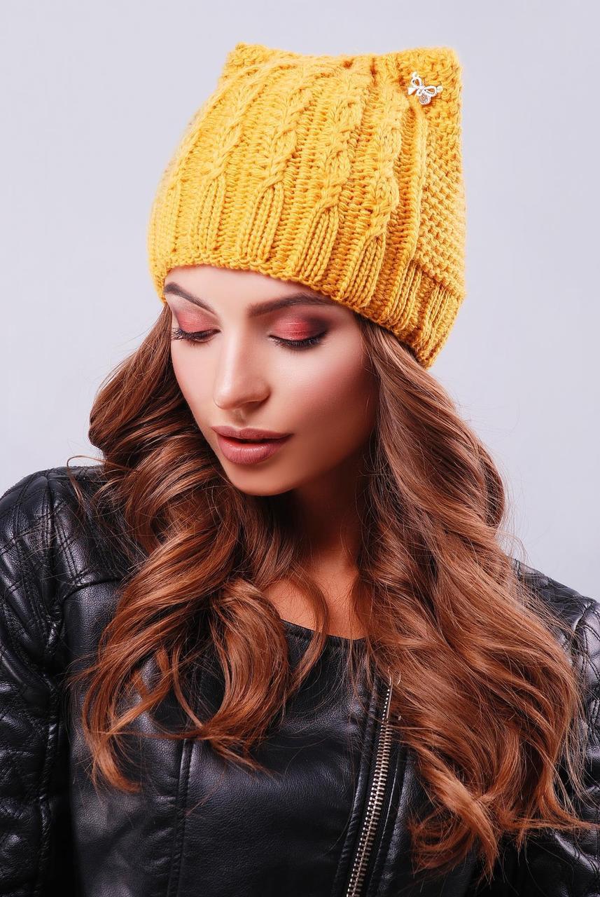 """Вязаная теплая женская шапка в косичку с """"ушками"""" цвет горчица"""