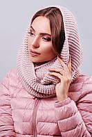 Вязаный женский теплый шарф-снуд однотонный цвет пудра